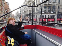 My mom on the top of the double decker Hop on Hop off...........loved it so much, tour 2.5 tours , Ransthewiz - September 2011
