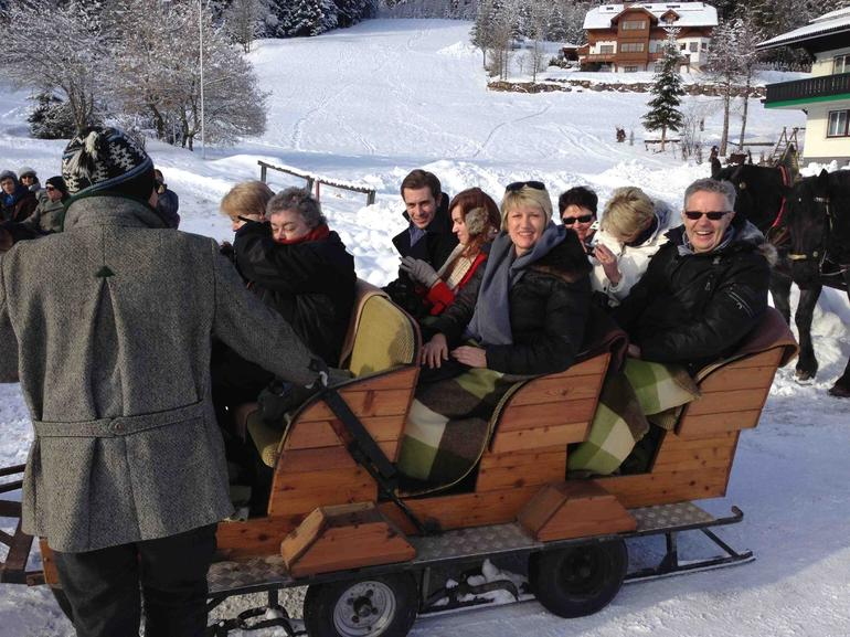 Sleigh driver, me and others in our group