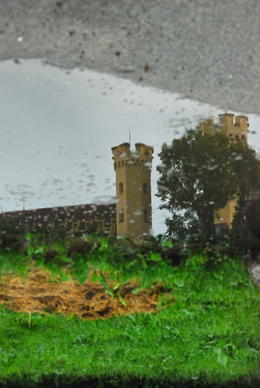 A reflection capturing one of the Castle towers. , jack m a - August 2011