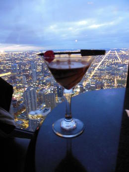 Godiva chocolate martini and view of Chicago from the 96th floor of the Hancock Tower. Doesn't get any better than this. , Patricia J G - November 2012