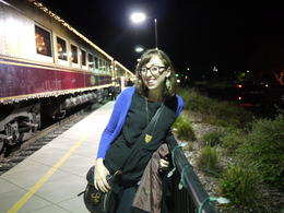 The train was lit up with cute lights at night. Loved it!, Laura All Over - April 2013