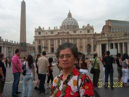 Tourist Cres Gacusan Joys as she walks on holy ground in the St. Peter's Square of Vatican City Basilica., HONESTO G - September 2008