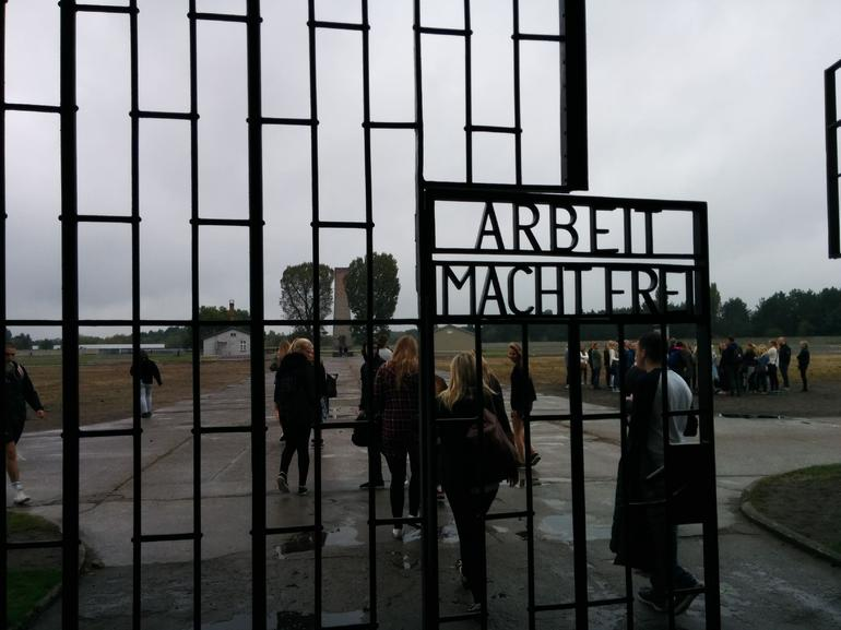 On the front entrance gates to Sachsenhausen is the infamous slogan Arbeit Macht Frei ( and quot;work makes (you) free and quot;).