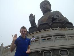 Brock posed with the Big Buddha, Asha & Brock - July 2013