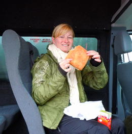 Sandwiches and cookies back in the van, KatieontheMap - December 2012