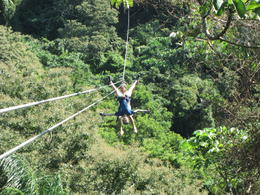 Photo of Roatan Roatan Shore Excursion: Zip 'n' Dip Canopy Tour Upside Down