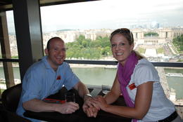 Yeah, it's us enjoying a great meal while looking over at the Trocadero on the Left Bank. , Jeff & Kathy - July 2012