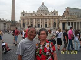 Nes and Cres Gacusan, couple from Ohio, toured the Vatican Basilica Square with great fulfillment as part of their retirement tour of Rome, particularly the Vatican Basilica Square., HONESTO G - September 2008