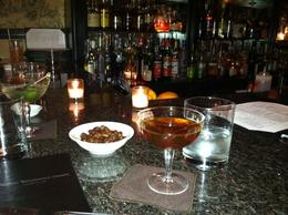 One of the best Manhattans and yummy snacks at a cool, secret bar, taylor - June 2012