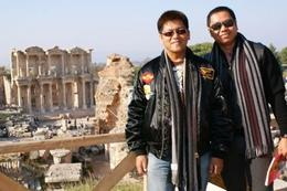 Behind us is the Celsus Library at Ephesus, Raymond G - December 2009