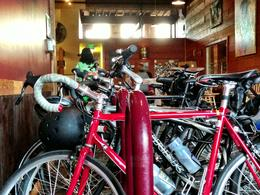 Only in Portland, there's bike parking inside the brewery (this one at Luck Lab). Love it. , Rusty - June 2013