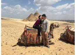 Christian and Veronica Fletcher of Austin, Texas on a camel in front of the pyramids. , Michelle C - April 2015