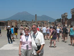 The forum with Vesuvius in the background. Pompeii was much bigger than we expected! , David Marshall J - July 2012