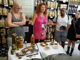 At the Cretan market we were given samples of olive oil, rusk, olive paste, marmalade, wine, yogurt with honey, and rakimello. , James M - September 2014