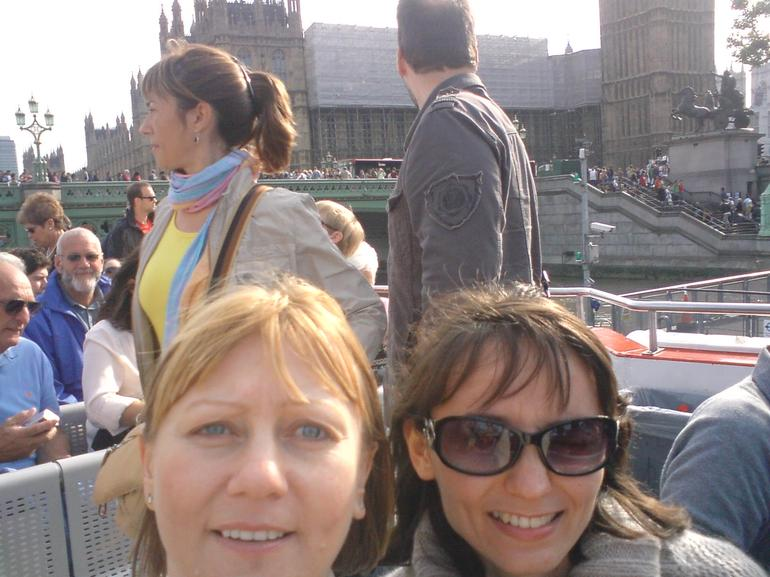 That's us together on Thames river cruise - London