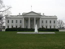 This is a picture of the White House taken from the fence. It seems bigger in the movies., Natalia G - March 2008