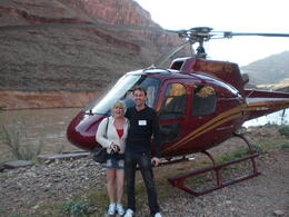 Us in front of our helicopter ! , lisa - April 2011