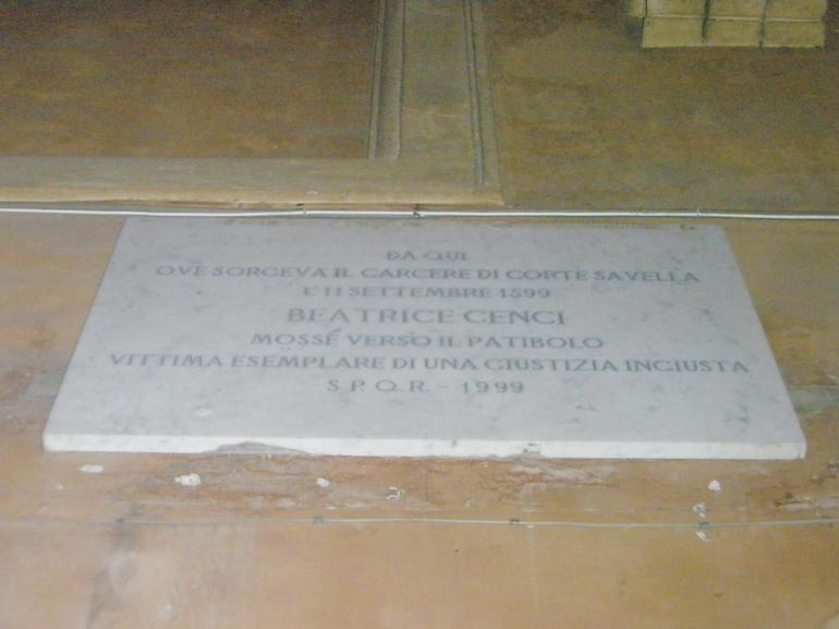 Beatrice Cenci plaque - Rome