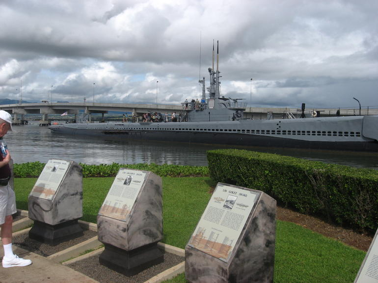 Plaques representing each ship attacked at Pearl Harbor - Oahu