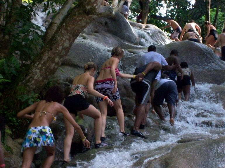 Climbing the Dunn's River Falls -