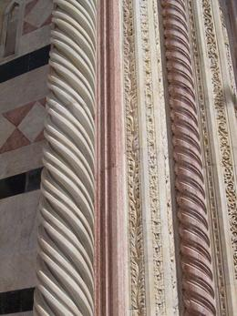 This is a close up of the outside of Sienna Cathedral showing all the colors and detail., Susan H - April 2008