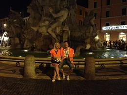 Sat in front of the Fontana del Nettune, in our eye-catching attire!, AlexB - July 2012