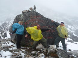 Photo of Cusco 5-Day Salkantay Trek and Machu Picchu Tour from Cusco Photo op at the top of the pass with our awesome guide