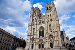 St Michael and St Gudula Cathedral is located in central Brussels, Belgium - June 2011