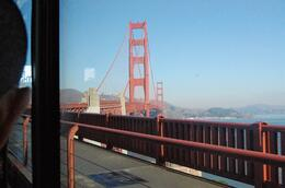 Photo of San Francisco Alcatraz Tour plus Muir Woods, Giant Redwoods and Sausalito Day Trip View of Golden Gate from Tour bus