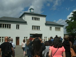 Photo of Berlin Sachsenhausen Concentration Camp Memorial Walking Tour Block A and the clock showing