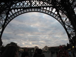 From beneath the Eiffel Tower before we head in , April G - October 2015