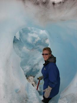 Michele walking the glacier & loving it., Steve C - February 2009