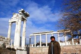 Behind me are the ruins of the temple in Pergamum, Raymond G - December 2009