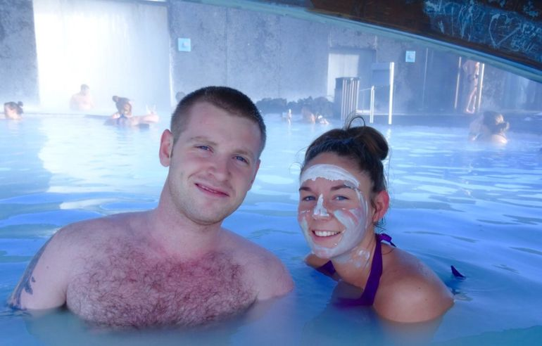 Me and the partner in the Blue Lagoon! Amy used the face cleansing cream you get supplied on the way in ! Amazing!
