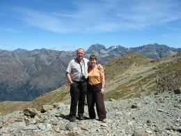 My wife and I enjoying the first stop on the flight. Tremendous thrill to just 'stop off' on a mountain., William A - February 2009