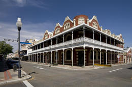 The beautiful historic buildings of the bustling port town of Fremantle in Western Australia - May 2011