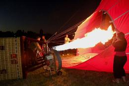 "Note that the basket is on its side. After some time spent ""fanning"" air into the balloon, Brian hit the burner to heat the air. That, in turn, gave the air in the balloon a reason to ...  - March 2010"