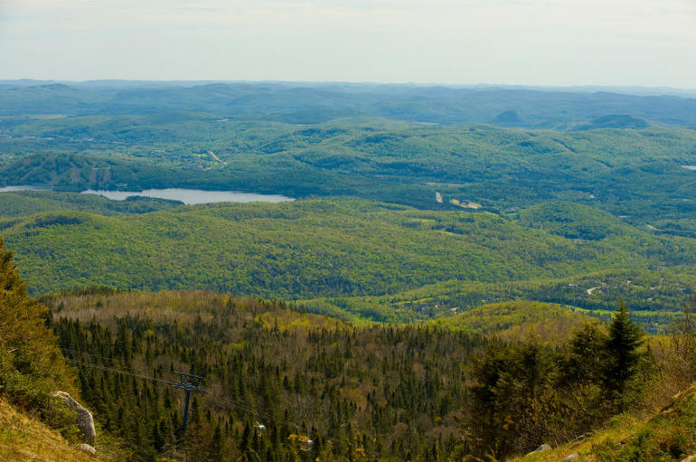 Overlooking a range of hills from Mont Tremblant in the Laurentians