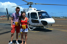 Getting on the helicopter!, Jules & Brock - September 2012