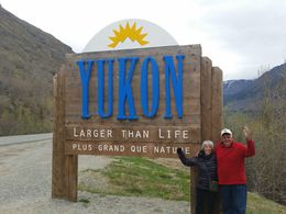 John and Nina Nowicki from Las Vegas on Alaskan Cruise on Crown Princess standing at Yukon border. , Wickster - May 2016