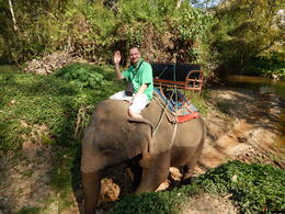 Kevin Teter riding the elephant and quot;BomBam and quot; , Kevin T - February 2014