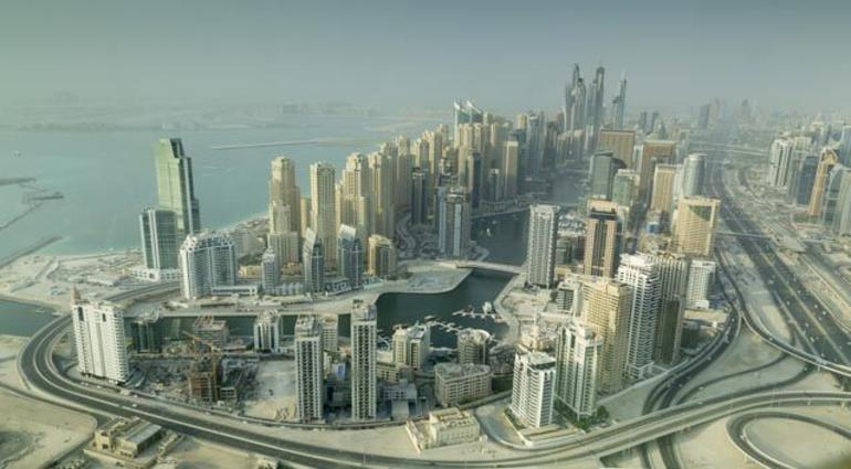 Dubai Marina from the Seawings flight