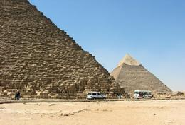 View of the Great Pyramid and the Pyramid of Kephren on the Giza Plateau., Rachel F - July 2008