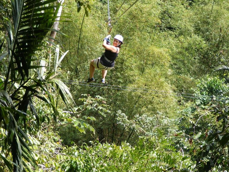 Lyne ziplining over the Great River gorge - Montego Bay