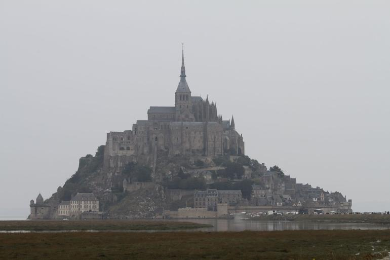 Driving up to Mont St. Michel.