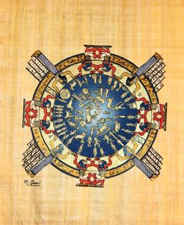 One of the pieces of art that we purchased at the papyrus institute. This image represents a calendar year, with the figures representing the months, days, etc. The image is hand-painted on the..., Rachel F - July 2008