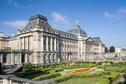 Photo of   Park with Belgian Royal Palace in Brussels