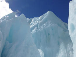 The white and blue ice of the glacier - February 2013