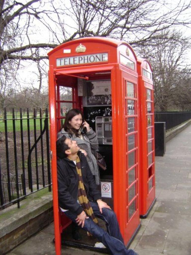 Typical red telephone booth - London