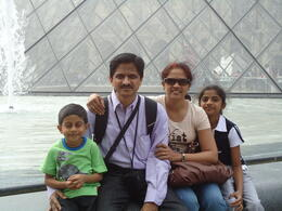 Family photo in front of louvre , Madhugiri V M N - May 2011